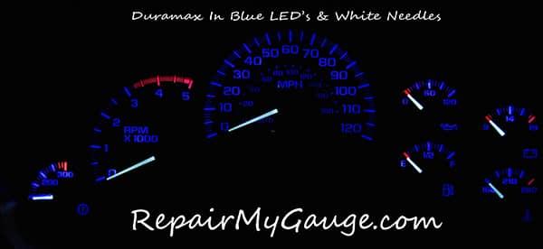 Cluster gauge with blue LEDs