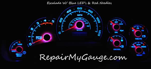 Cluster gauge with blue LEDs and red needles